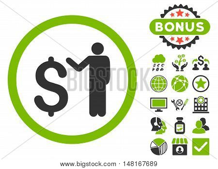 Banker icon with bonus design elements. Vector illustration style is flat iconic bicolor symbols, eco green and gray colors, white background.