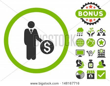 Banker icon with bonus images. Vector illustration style is flat iconic bicolor symbols, eco green and gray colors, white background.