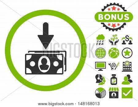 Banknotes Income icon with bonus design elements. Vector illustration style is flat iconic bicolor symbols, eco green and gray colors, white background.