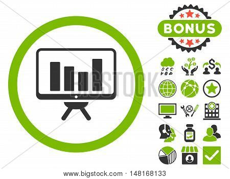 Bar Chart Monitoring icon with bonus elements. Vector illustration style is flat iconic bicolor symbols, eco green and gray colors, white background.