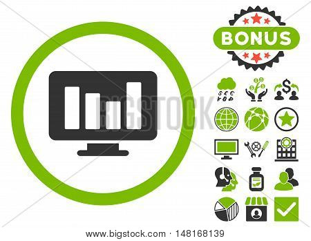 Bar Chart Monitoring icon with bonus symbols. Vector illustration style is flat iconic bicolor symbols, eco green and gray colors, white background.