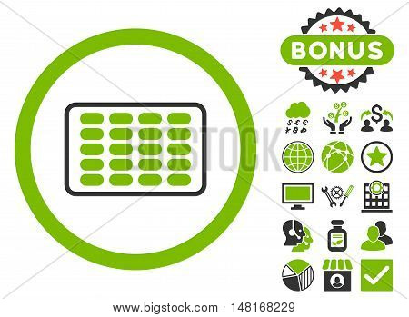 Blister icon with bonus design elements. Vector illustration style is flat iconic bicolor symbols, eco green and gray colors, white background.