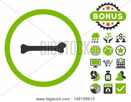 Bone icon with bonus design elements. Vector illustration style is flat iconic bicolor symbols, eco green and gray colors, white background.