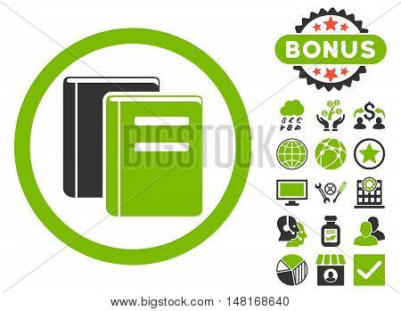 Books icon with bonus pictogram. Vector illustration style is flat iconic bicolor symbols, eco green and gray colors, white background.
