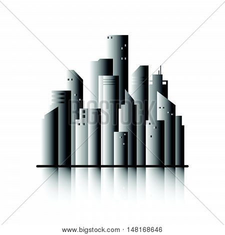 Town flat design landscape in black and white illustration. Cityscape sets with various parts of a city: small towns or suburbs and downtown silhouettes. Flat design for business financial marketing banking advertising commercial event minimal concept car