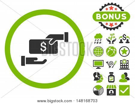 Bribe icon with bonus design elements. Vector illustration style is flat iconic bicolor symbols, eco green and gray colors, white background.