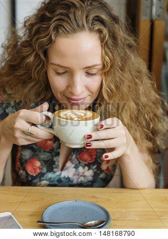 Woman Drinking Coffee Breakfast Refreshment Concept