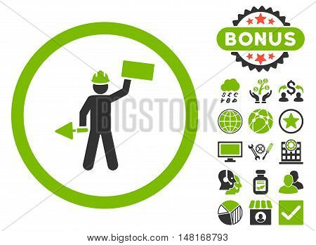 Builder With Shovel icon with bonus pictures. Vector illustration style is flat iconic bicolor symbols, eco green and gray colors, white background.