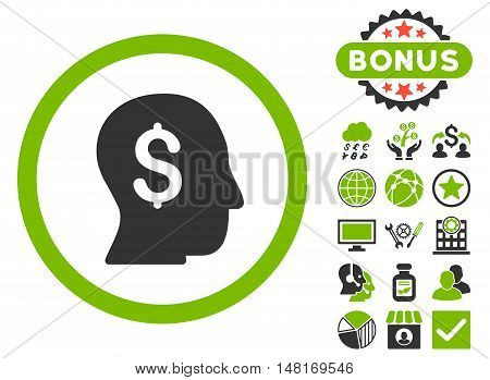 Businessman icon with bonus design elements. Vector illustration style is flat iconic bicolor symbols, eco green and gray colors, white background.