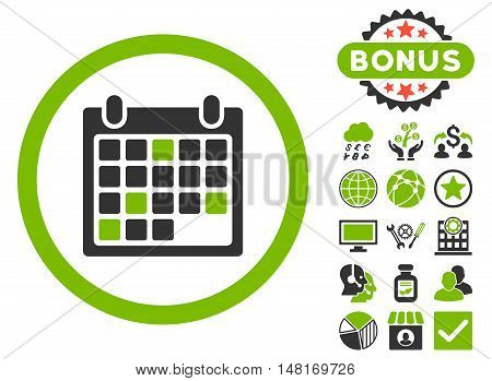 Calendar Appointment icon with bonus images. Vector illustration style is flat iconic bicolor symbols, eco green and gray colors, white background.