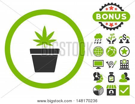 Cannabis Pot icon with bonus design elements. Vector illustration style is flat iconic bicolor symbols, eco green and gray colors, white background.