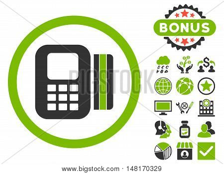 Card Processor icon with bonus elements. Vector illustration style is flat iconic bicolor symbols, eco green and gray colors, white background.