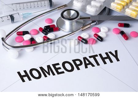 HOMEOPATHY Background of Medicaments Composition Stethoscope mix therapy drugs doctor flu antibiotic pharmacy medicine medical