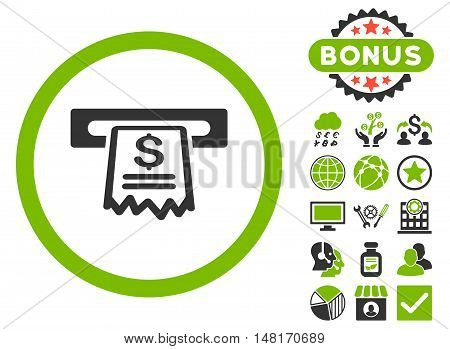 Cashier Receipt icon with bonus pictures. Vector illustration style is flat iconic bicolor symbols, eco green and gray colors, white background.