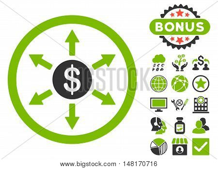 Cashout icon with bonus pictures. Vector illustration style is flat iconic bicolor symbols, eco green and gray colors, white background.