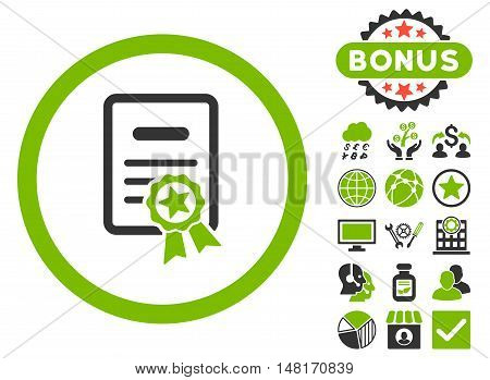 Certified Diploma icon with bonus design elements. Vector illustration style is flat iconic bicolor symbols, eco green and gray colors, white background.