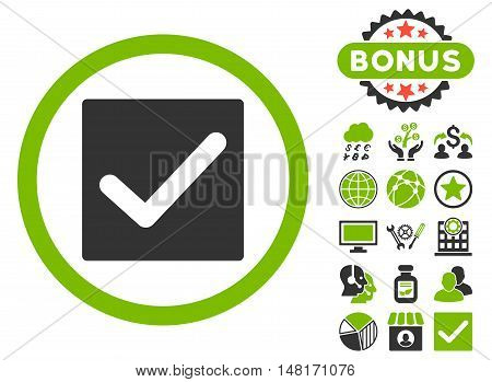 Check icon with bonus pictogram. Vector illustration style is flat iconic bicolor symbols, eco green and gray colors, white background.