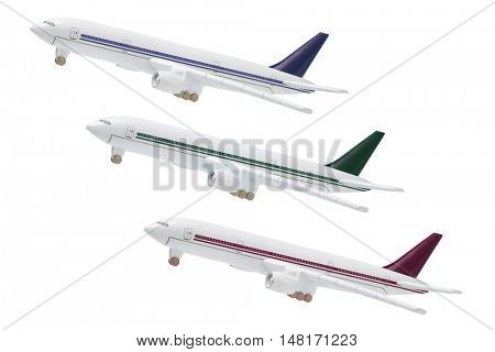 Miniature Model Of Commercial Jetliners on white Backgroud