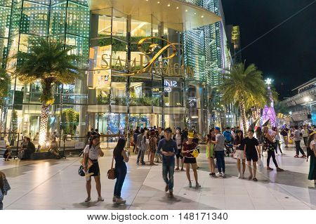 Bangkok, thailand - January 10, 2016:unidentified people walk at Siam Paragon shopping mall