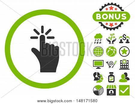 Click icon with bonus elements. Vector illustration style is flat iconic bicolor symbols, eco green and gray colors, white background.