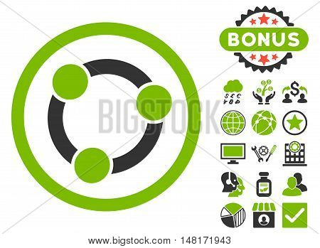 Collaboration icon with bonus design elements. Vector illustration style is flat iconic bicolor symbols, eco green and gray colors, white background.