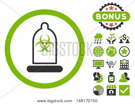 Condom Biohazard icon with bonus design elements. Vector illustration style is flat iconic bicolor symbols, eco green and gray colors, white background.