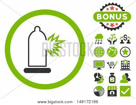 Condom Damage icon with bonus pictures. Vector illustration style is flat iconic bicolor symbols, eco green and gray colors, white background.