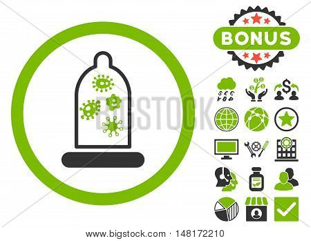 Condom Microbes icon with bonus design elements. Vector illustration style is flat iconic bicolor symbols, eco green and gray colors, white background.