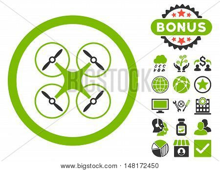 Copter icon with bonus images. Vector illustration style is flat iconic bicolor symbols, eco green and gray colors, white background.