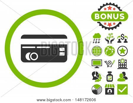 Credit Card icon with bonus pictures. Vector illustration style is flat iconic bicolor symbols, eco green and gray colors, white background.