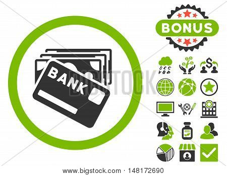 Credit Money icon with bonus design elements. Vector illustration style is flat iconic bicolor symbols, eco green and gray colors, white background.