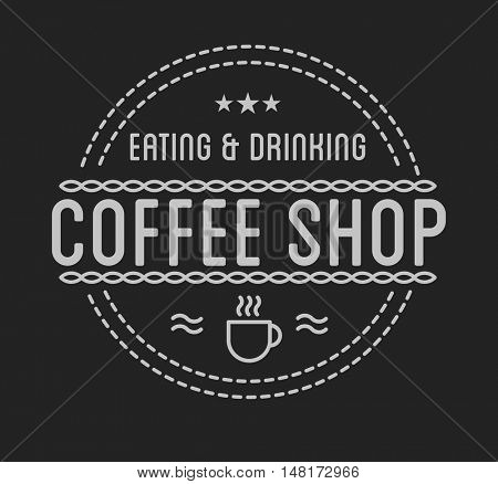 Vintage logo. Coffee shop template. Restaurant label. Graphic design element for business: cafe, bar, pub. Vector Illustration isolated on background.