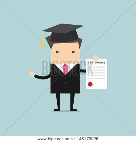 Businessman holds a certificate paper. vector illustration