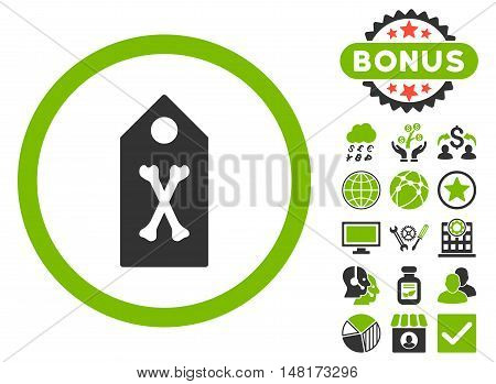Dead Marker icon with bonus design elements. Vector illustration style is flat iconic bicolor symbols, eco green and gray colors, white background.