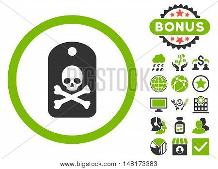 Death Sticker icon with bonus pictogram. Vector illustration style is flat iconic bicolor symbols, eco green and gray colors, white background.