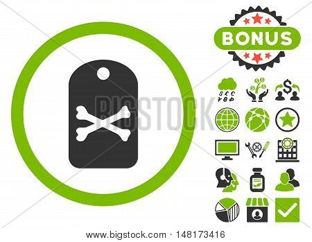 Death Tag icon with bonus pictures. Vector illustration style is flat iconic bicolor symbols, eco green and gray colors, white background.
