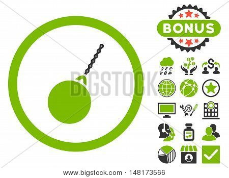 Destruction Hammer icon with bonus symbols. Vector illustration style is flat iconic bicolor symbols, eco green and gray colors, white background.