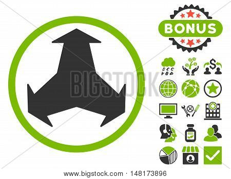 Directions icon with bonus elements. Vector illustration style is flat iconic bicolor symbols, eco green and gray colors, white background.