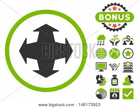 Directions icon with bonus symbols. Vector illustration style is flat iconic bicolor symbols, eco green and gray colors, white background.