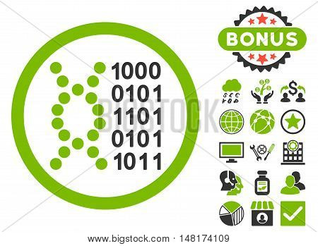 DNA Code icon with bonus images. Vector illustration style is flat iconic bicolor symbols, eco green and gray colors, white background.