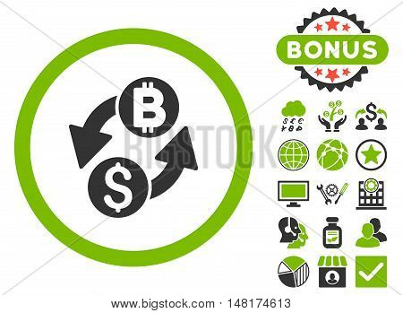 Dollar Bitcoin Exchange icon with bonus elements. Vector illustration style is flat iconic bicolor symbols, eco green and gray colors, white background.
