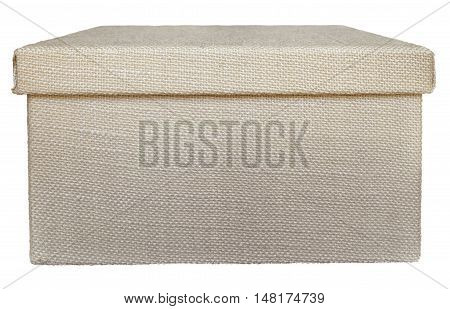 Closed beige box wrapped by burlap canvas isolated on a white background. Clipping path included.