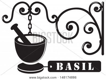 Industrial Vintage signboard for basil spices. The sign is made in a decorative manner.