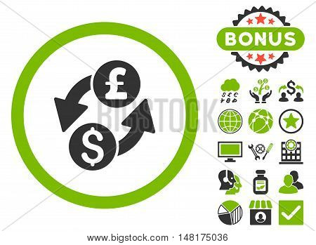 Dollar Pound Exchange icon with bonus pictures. Vector illustration style is flat iconic bicolor symbols, eco green and gray colors, white background.