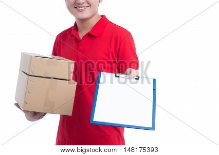 Cropped image of worker in red t-shirt and cap smiling holding a folder and making notes on white background