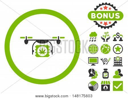 Drugs Drone Shipment icon with bonus images. Vector illustration style is flat iconic bicolor symbols, eco green and gray colors, white background.