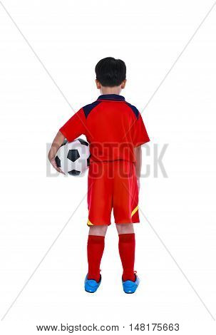 Back View Of Young Asian Soccer Player With Soccer Ball. Studio Shot.
