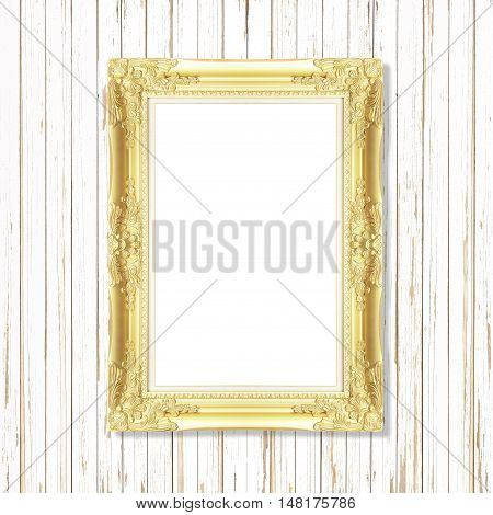 Antique gold frame on wooden wall. Empty picture frame on wooden wall.