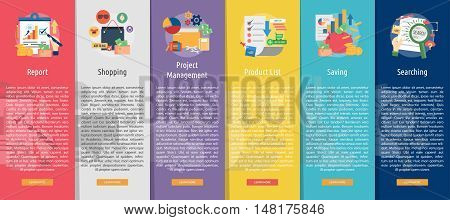 Business Design Vertical Banner Concept   Set of great vertical banner flat design illustration concepts for business, marketing, working, idea, event and much more.