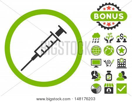 Empty Syringe icon with bonus pictures. Vector illustration style is flat iconic bicolor symbols, eco green and gray colors, white background.